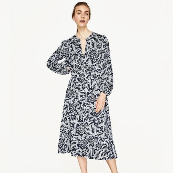 ZARA floral midi dress. Size large